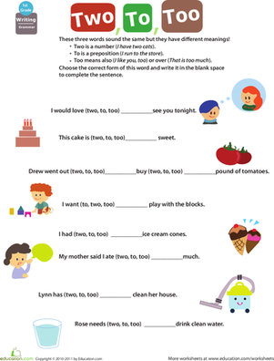 Printables Grammar Worksheets For 1st Grade words confusing and to too two on pinterest