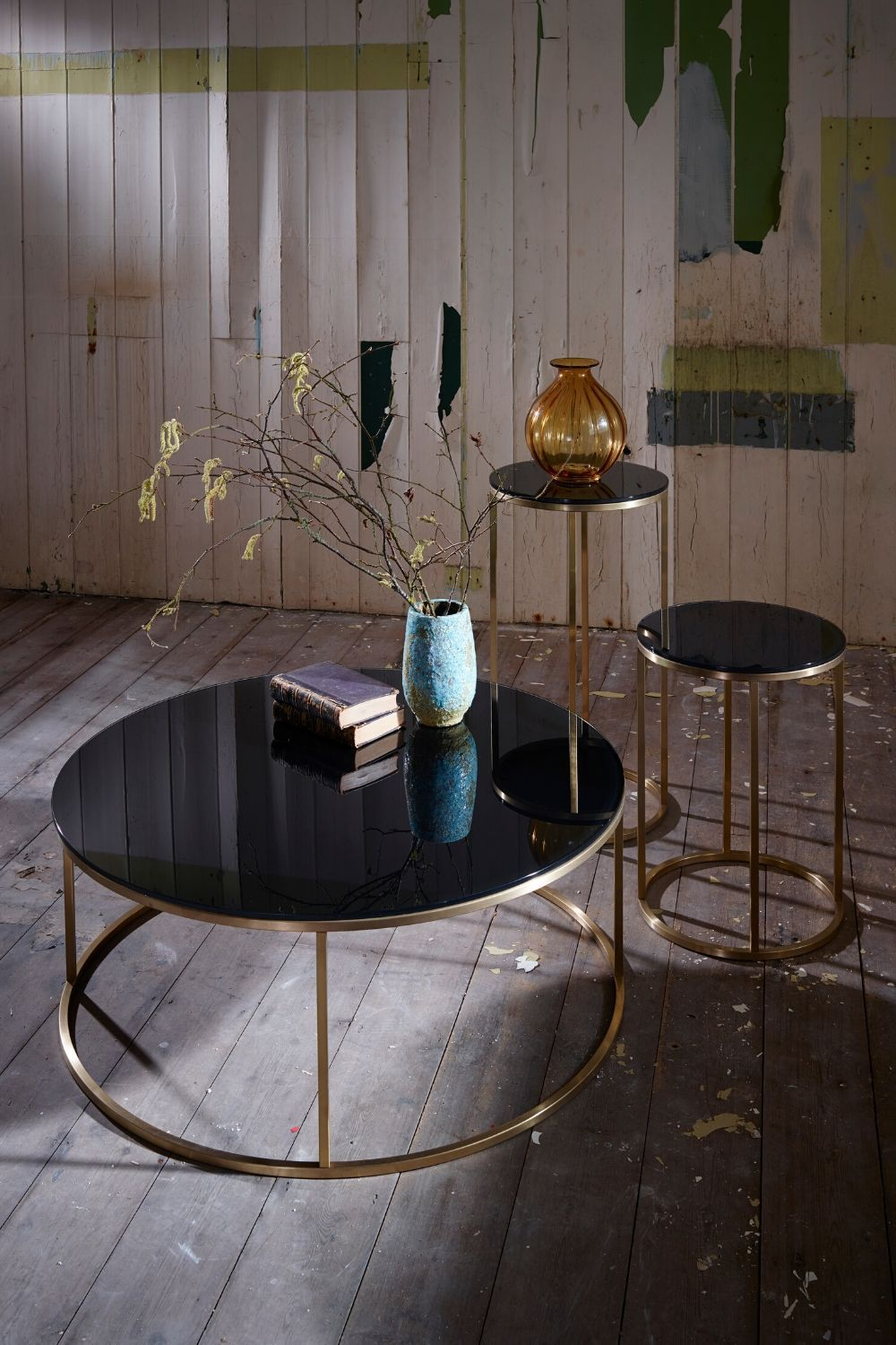 Black Glass And Gold Metal Contemporary Circular Coffee Table Coffee Table Black Coffee Tables Circular Coffee Table [ 1500 x 1000 Pixel ]