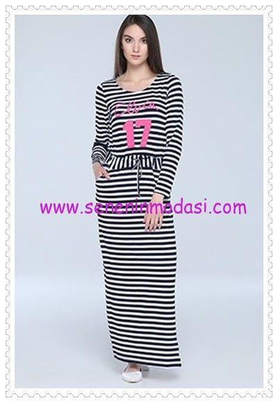 8cffbbdc81ed4 Tozlu Giyim çizgili beli bağcıklı uzun spor elbise | Tozlu Kadın ...