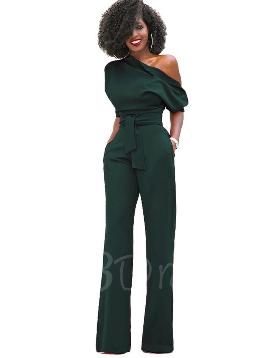 cc2c5734280fe Inclined Shoulder Plain High-Waist Lace-Up Slim Women's Jumpsuit - m ...