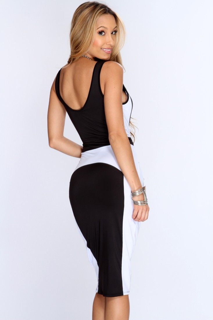 Black White Two Tone Knee Length Bodycon Party Dress | Make up Alleys