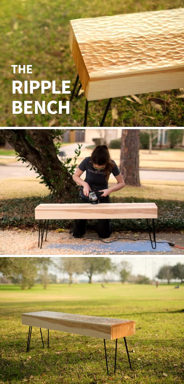 Awe Inspiring Power Carved Ripple Bench Diy Wood Decor Diy Bench Home Theyellowbook Wood Chair Design Ideas Theyellowbookinfo