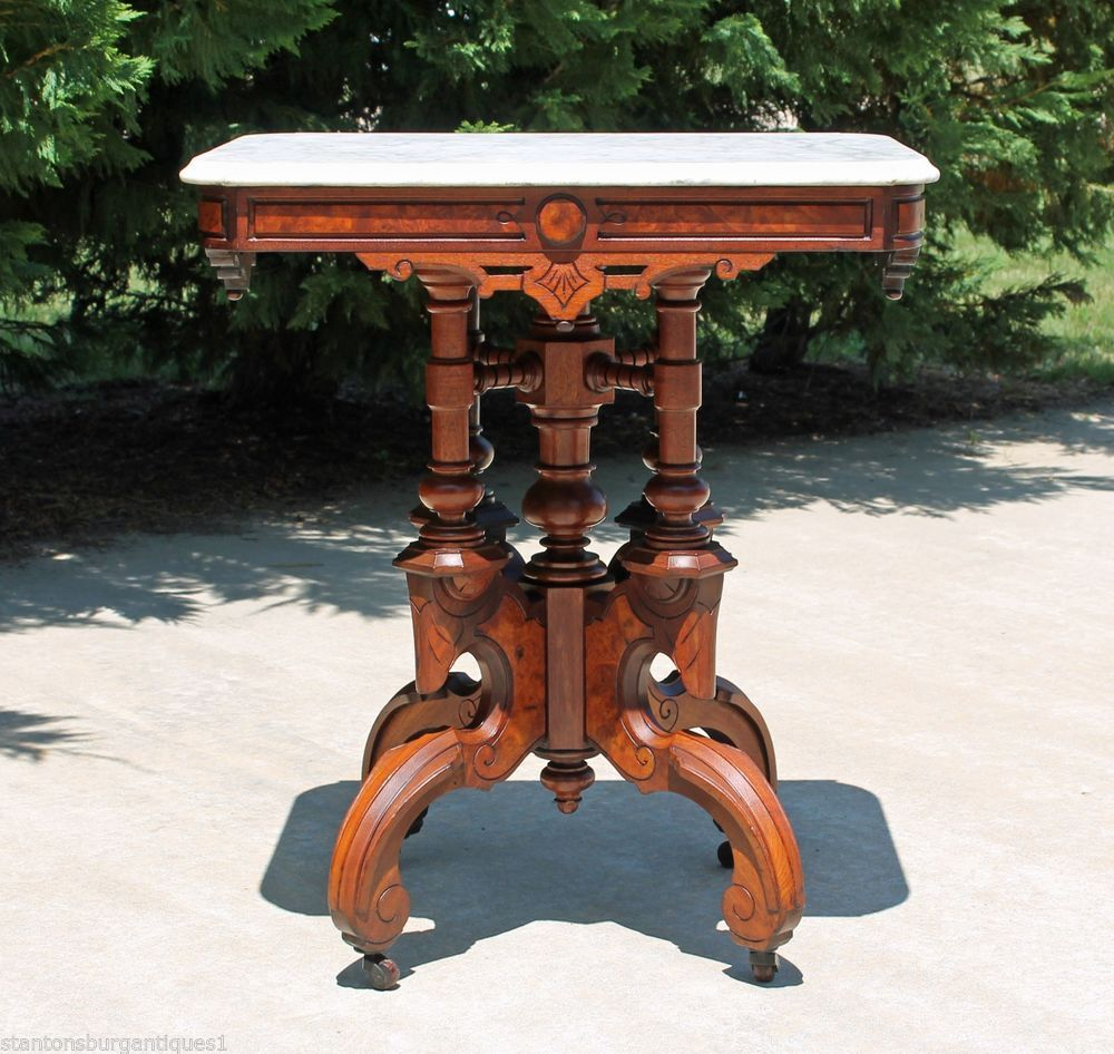 Victorian marble top table jpg - Spectacular Victorian Renaissance Walnut Marble Top Parlor Lamp Table C1875