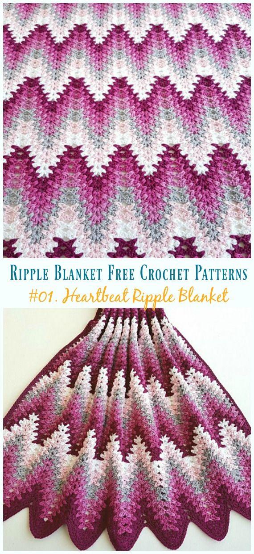Heartbeat Ripple Blanket Crochet Free Pattern Crochet Ripple