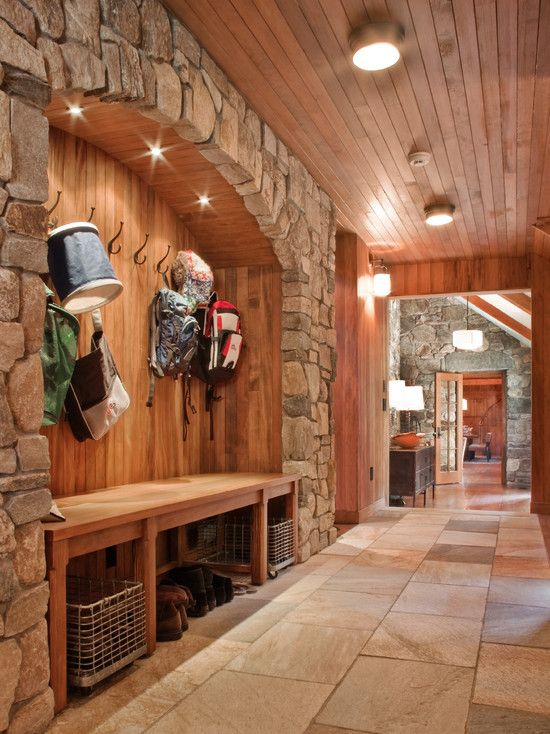 Fascinating Entrance Hall Decorations: Amazing Entrance Hall Mudroom Stone  Wall Classic Coat Hook ~ Gozetta