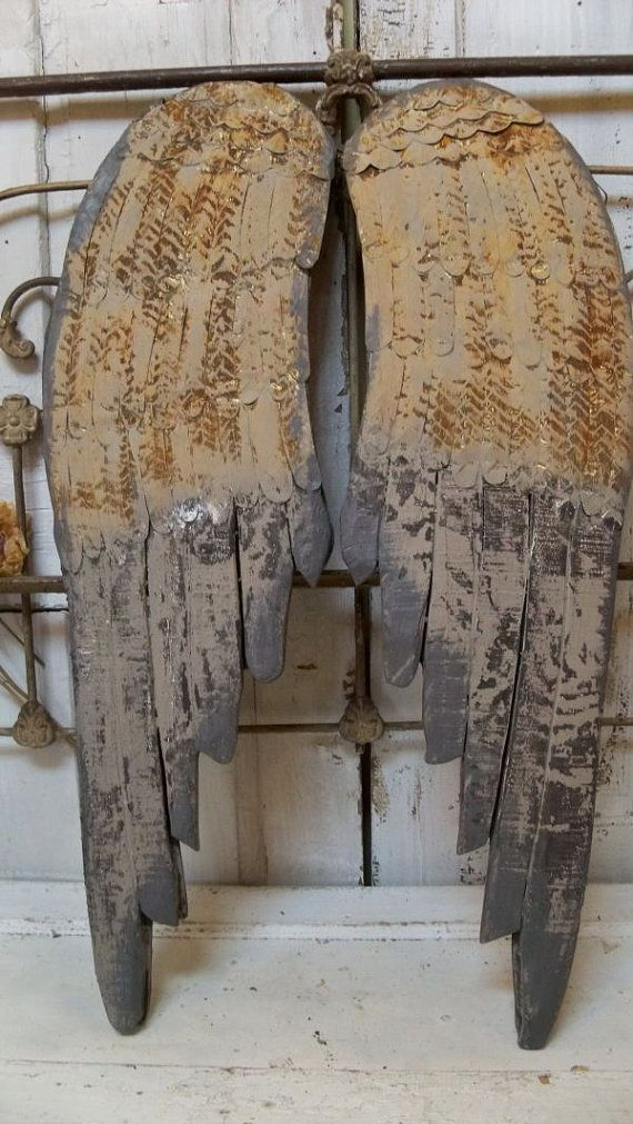 Large Wooden Angel Wings Hand Painted Rusted Distressed Hand Carved Wall Sculpture Metal Home Decor Anita Spero