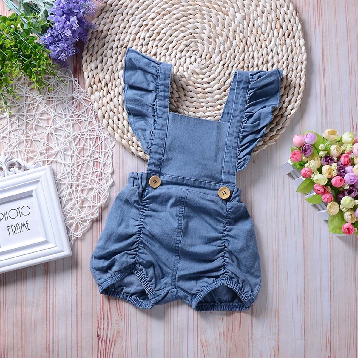 6008862b89d Newborn Infant Baby Girls Denim Romper Bodysuit Jumpsuit Outfits Sunsuit  Clothes