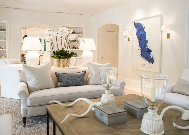 Wonderful Chic White Living Room With Blue Accents. Chic White Living Room Blue  Decor. # Pictures