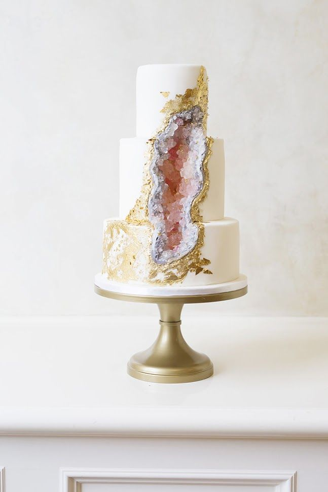 wedding cake gold foil pink geode cake with edible gold foil wedding cakes 22777