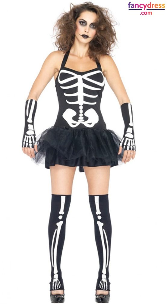 Amazing JJ GOGO Womens Sexy Skeleton Costume   Adult Halloween Fancy Skeleton  Cosplay Dress With Gloves