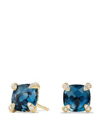 Châtelaine+8mm+Hampton+Blue+Topaz+&+Diamond+Earrings+by+David+Yurman+at+Neiman+Marcus.