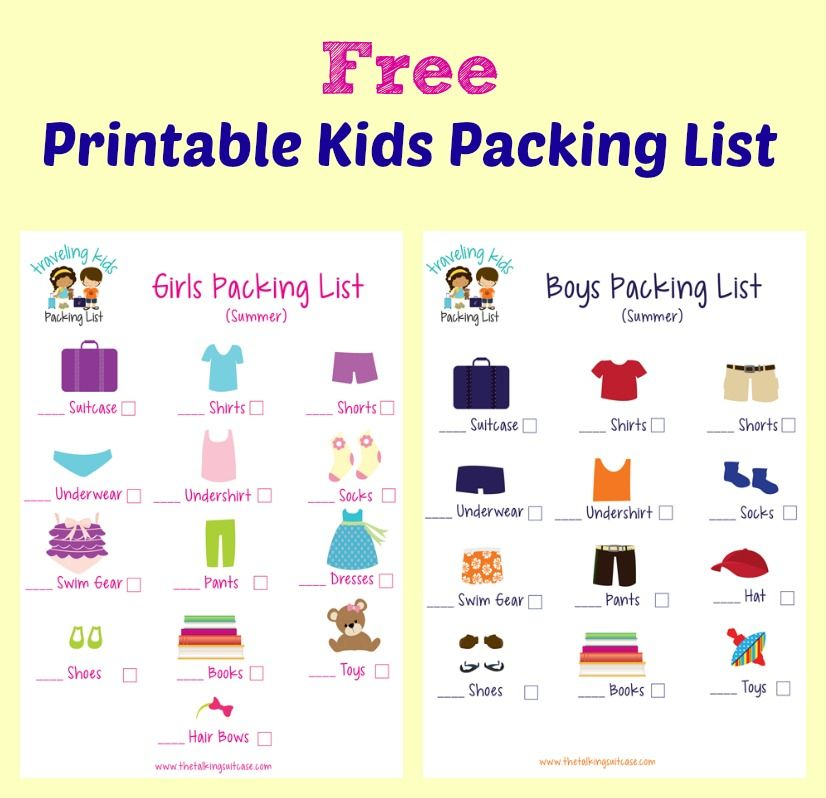 kids packing list  free printable