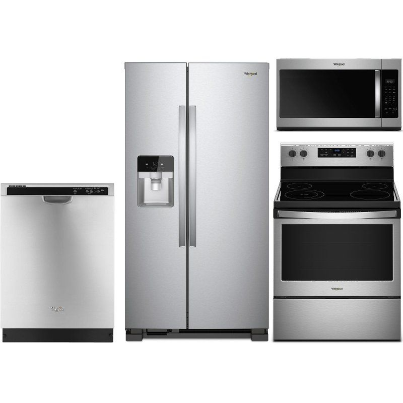 Whirlpool 4 Piece Electric Kitchen Appliance Package With 24 5 Cu Ft Side By Side Refrigerator Stainless Steel Kitchen Appliance Packages Kitchen Appliances Kitchen Electronics