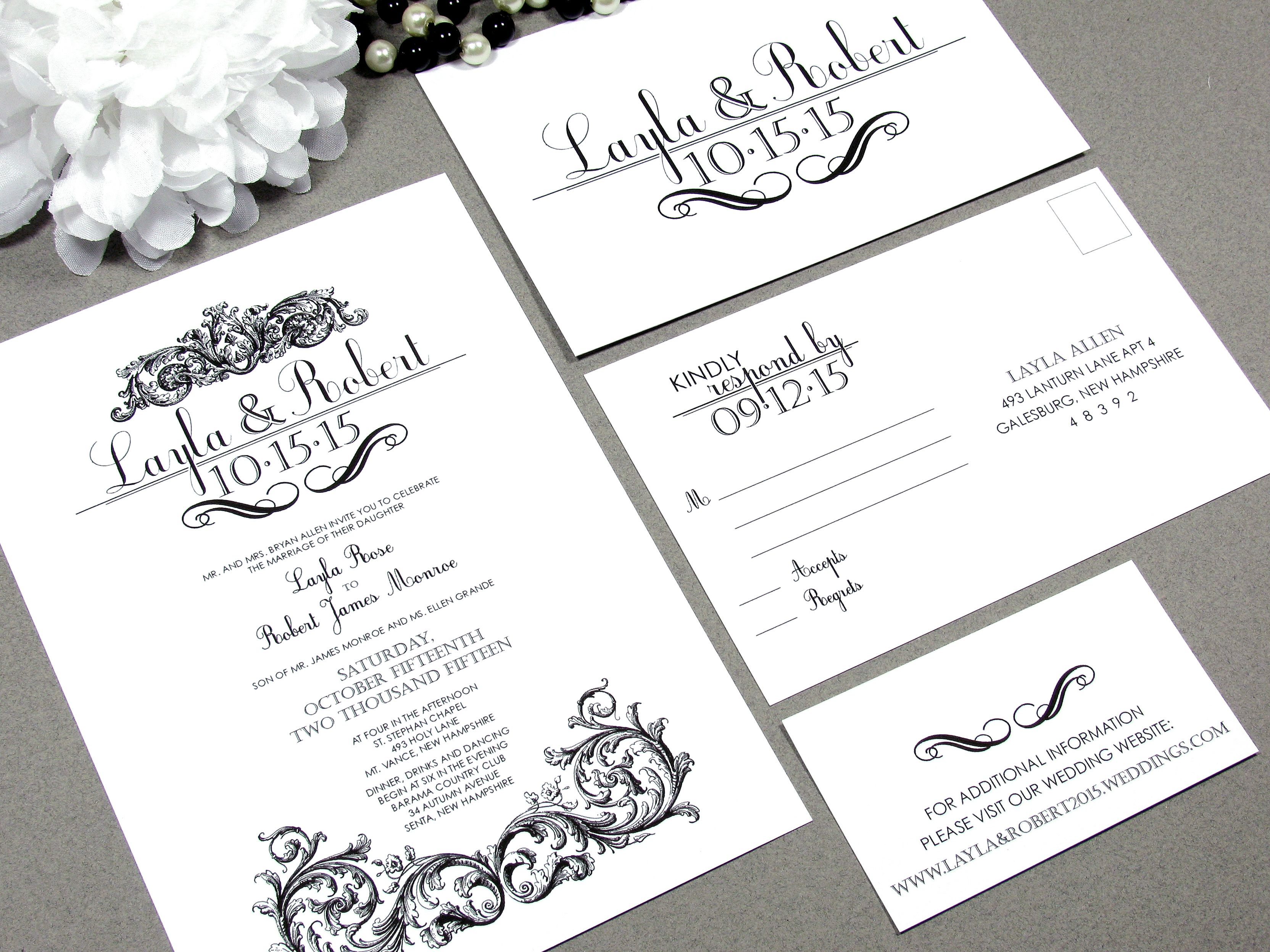 Victorian Scroll Wedding Invitation Suite By Runkpock Designs