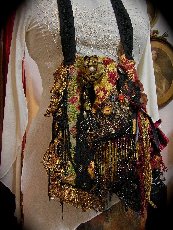 Gypsy Fringe Purse Victorian bohemian purse renaissance gothic handmade brass buttons beads lace black.