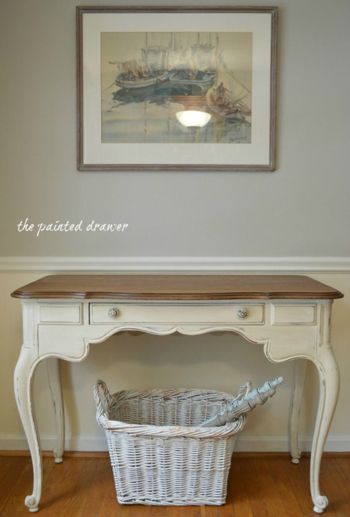 Creamy White Desk www.thepainteddrawer.com Old White with a wash of Old Ochre