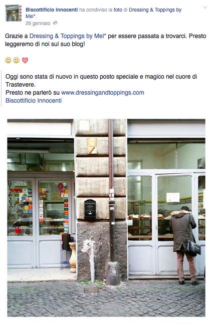 Grazie a Dressing & Toppings by Mel* per essere passata a trovarci. Presto leggeremo di noi sul suo blog!  (Melania Migliozzi, autrice del blog Dressing & Toppings by Mel*)--------------------------Biscottificio Innocenti Roma Trastevere