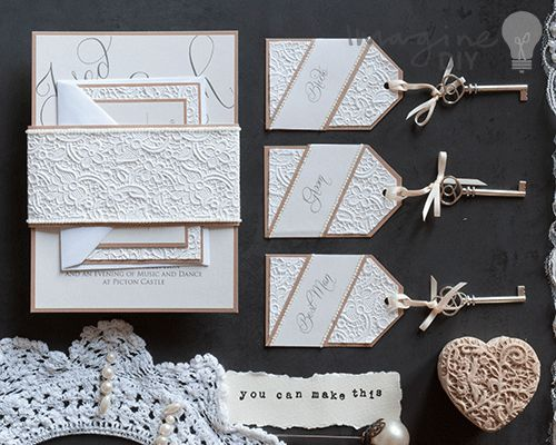 How to makece embossed stationery diy wedding vintage style diy wedding invitation ideas and supplies from imagine diy diy luxury lace embossed wrap wedding junglespirit Gallery