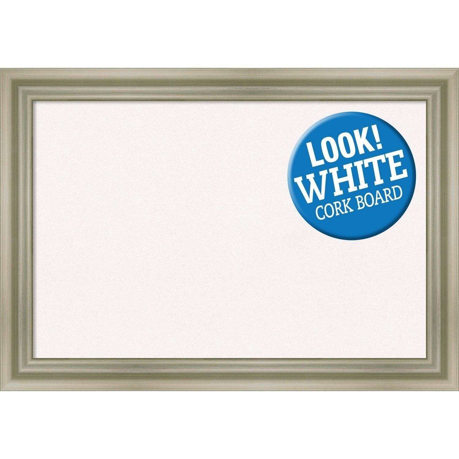 Amanti Art Framed White Cork Board, Warm Silver Swoop (large - 30 x ...