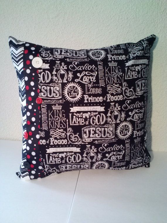Jesus Pillow Cover Religious Words Pillow By CharleyChaseDesigns Amazing Joann Fabrics Pillow Covers
