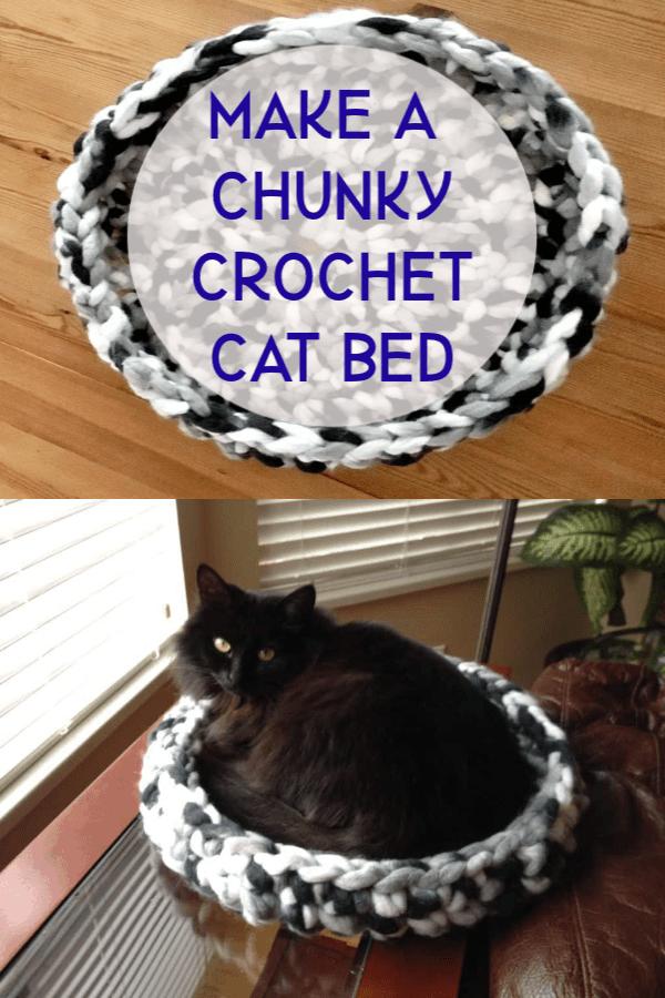 Crochet cat bed chunky giant yarn crochet hook tutorial in