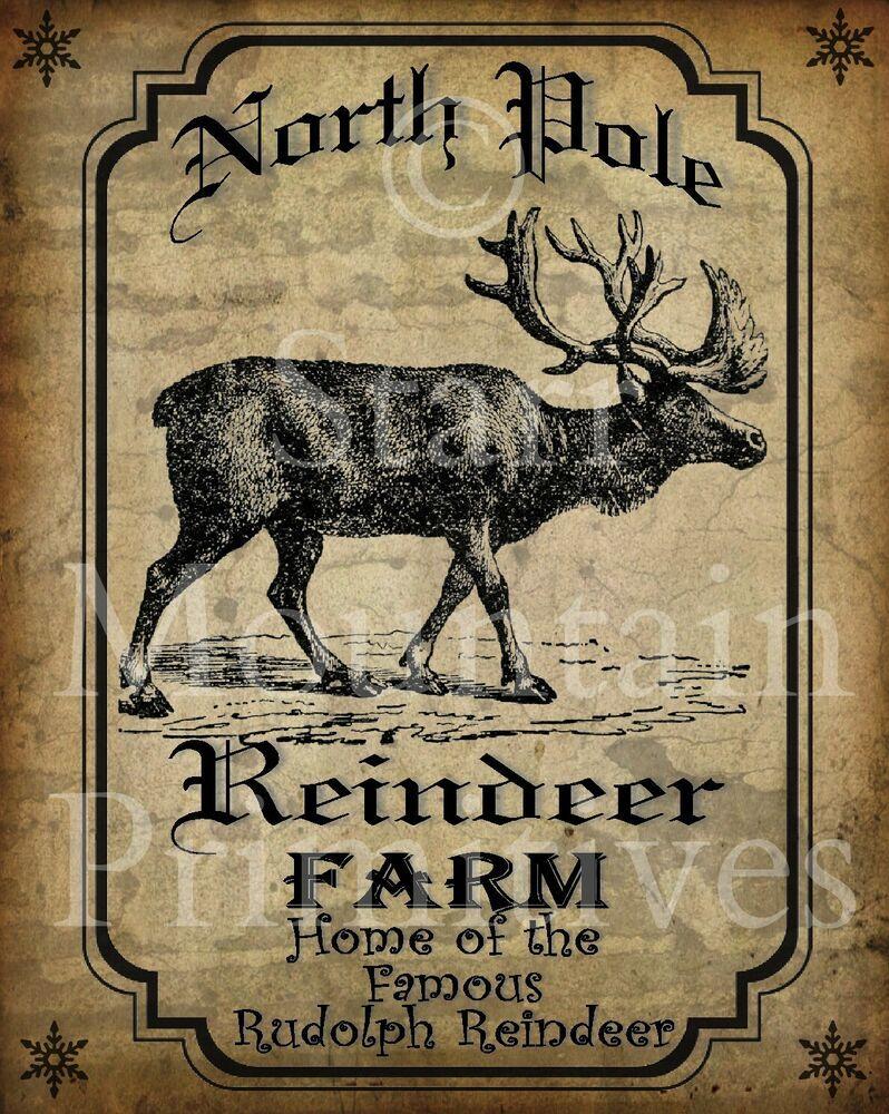 Details about Primitive Christmas North Pole Reindeer Farm