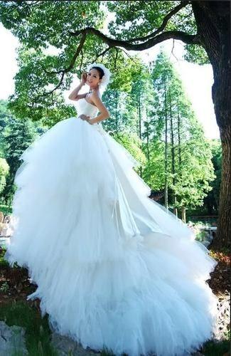 Stunning Noble Elegant Tulle Satin Wedding Dress Ball Gown New ...