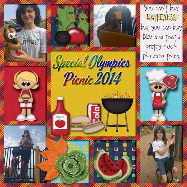 Pictures taken at the Special Olympics picnic.  Kit used:  BoomersGirl Designs' Backyard BBQ available at http://store.gingerscraps.net/Backyard-BBQ.html  Template:  My Story Vol. 1 by LissyKay Designs.