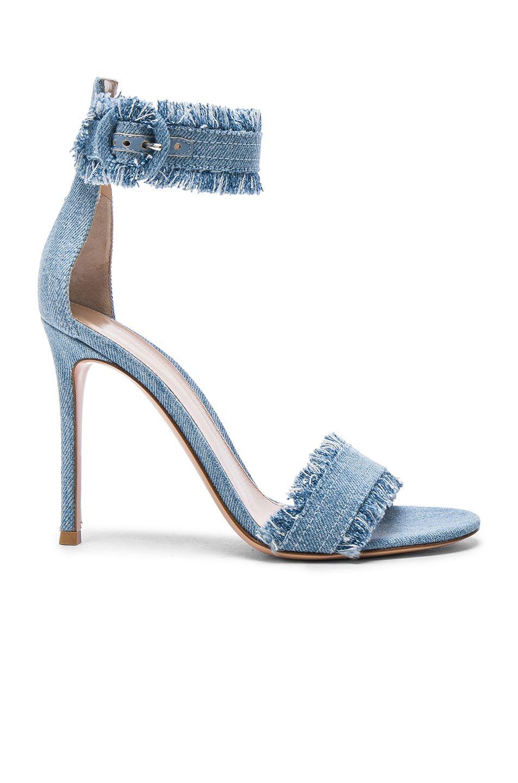 Gianvito Rossi Lola Frayed Denim Sandals In Denim Light Modesens Ankle Strap Sandals Heels Heels Ankle Strap Heels