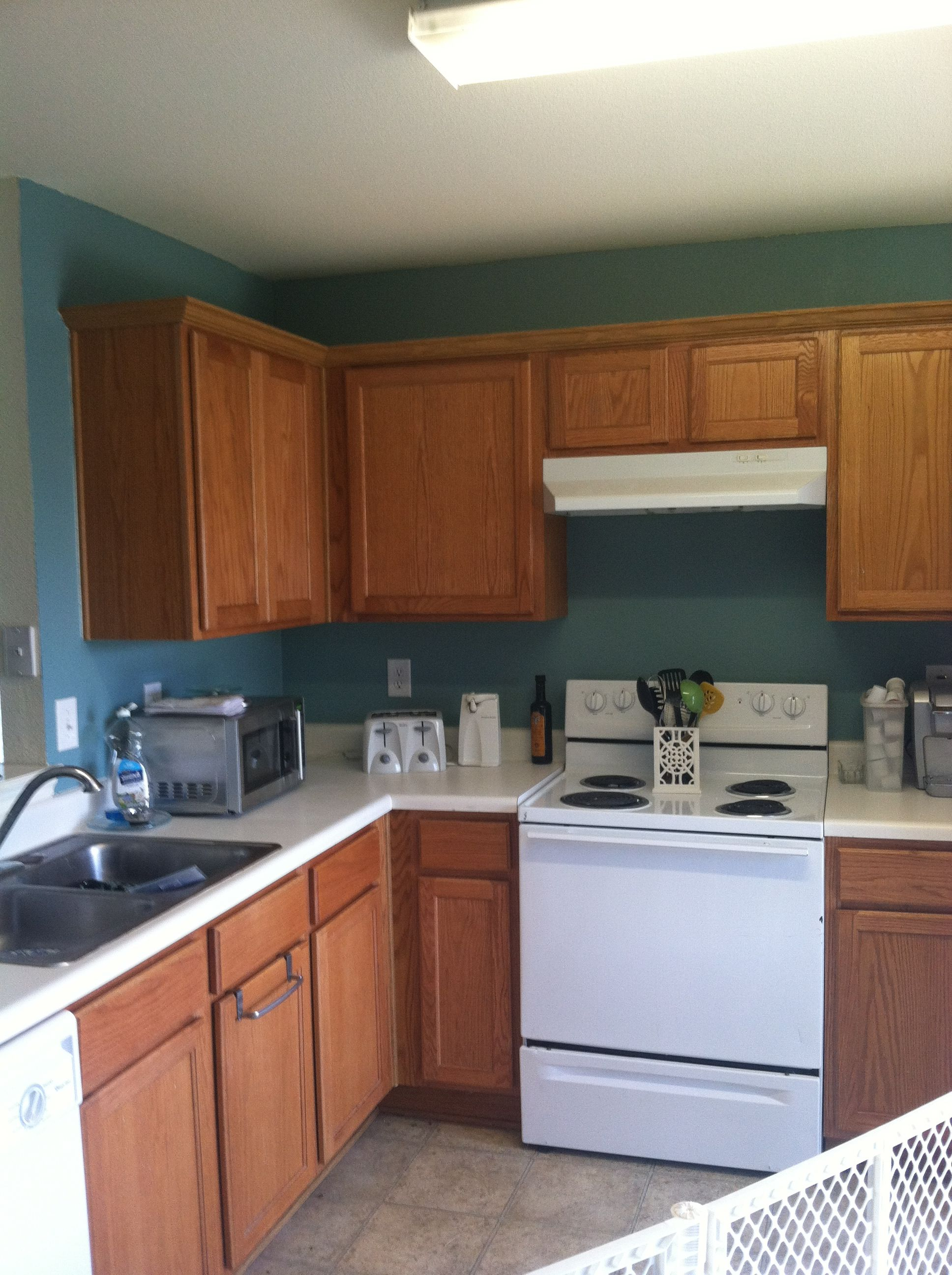 Behr Venus teal paint, oak cabinets, kitchen | Home | Pinterest