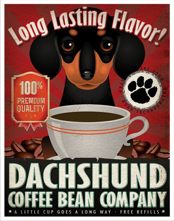 Dachshund Drinking Coffee Vintage Style Pop Art Print 8x10 Dog Collectible Doxie