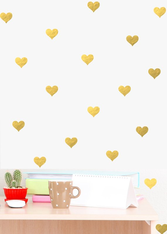 mini heart wall decal chic home decor bedroom wall decals gold