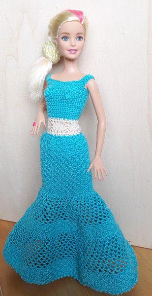 Puppenkleidung Barbie Kleid Gehäkelt Türkis Ein Designerstück