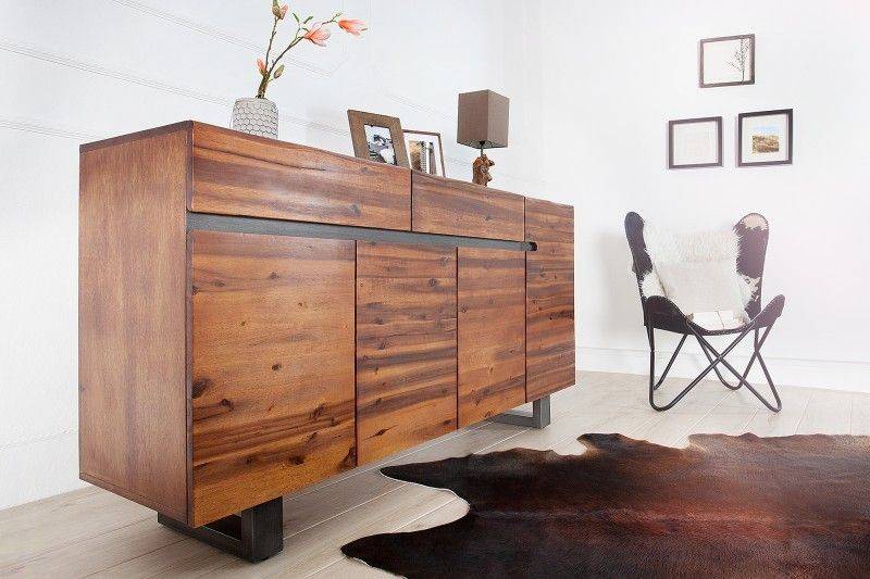 enfilade moderne de couleur naturelle en bois acacia. Black Bedroom Furniture Sets. Home Design Ideas