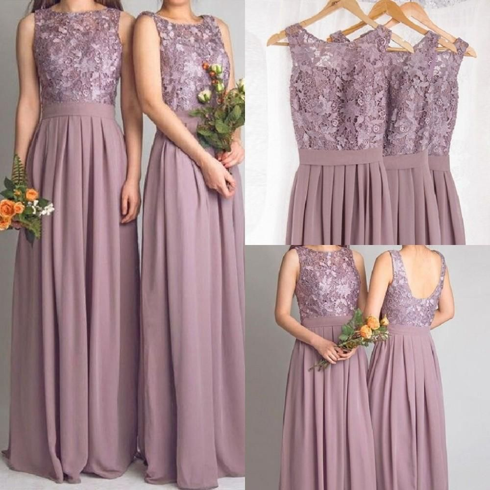 Dusty mauve long bridesmaid dresses for wedding with lace for Bridesmaid dresses for a garden wedding