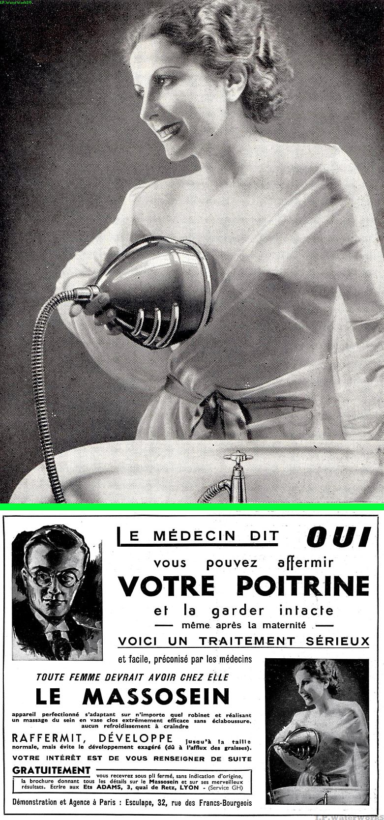 Real(Mislabeled) - Circulating as a Breast Washer - This image is also being referred to as a Breast Enlarger. - The original image is shown below in a French Advertisement. Loosely it says that you can get your chest back to normal after pregnancy with this easy apparatus and that every woman should try it! Cold water is run through the hose.  https://retrorambling.wordpress.com/2011/10/19/the-boob-washer/