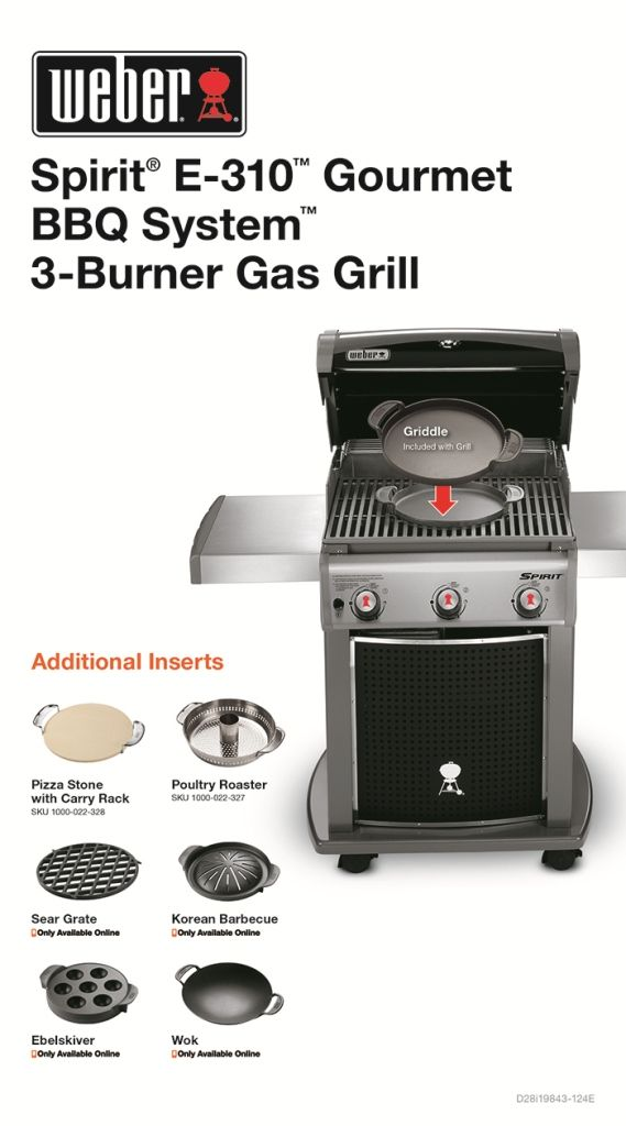 Weber Spirit E 310 3 Burner Propane Gas Grill In Black Featuring The Gourmet Bbq System 46513101 The Home Depot Natural Gas Grill Gourmet Bbq Gas Grill