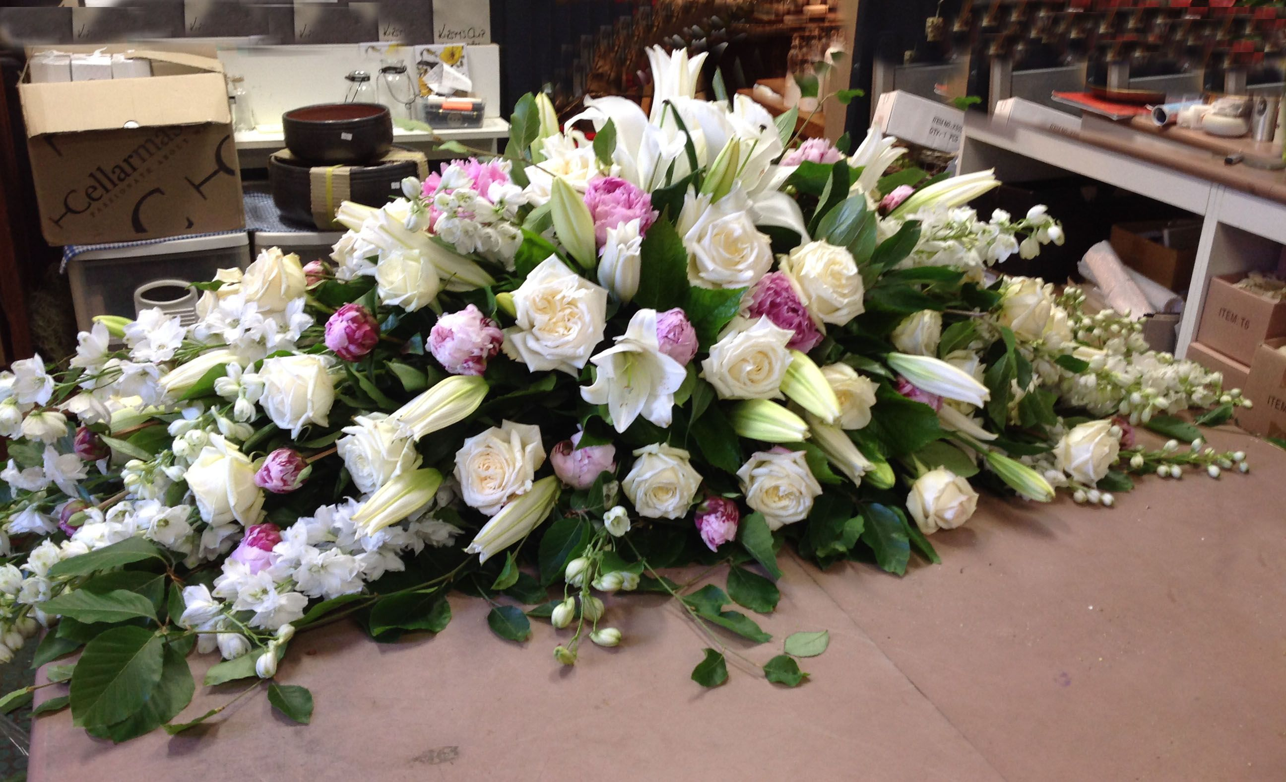 White And Pink Casket Spray Sympathyflowers Floraltribute Moms