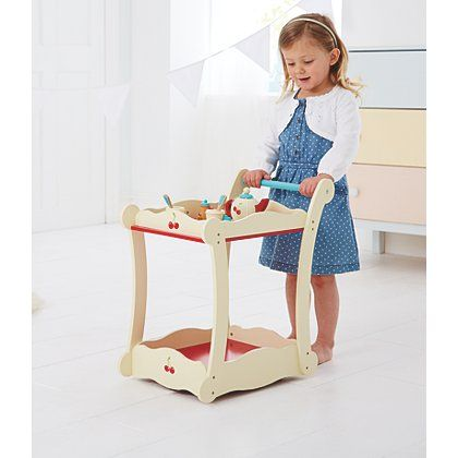 George Home Wooden Tea Trolley Play Kitchen Tea Trolley Wooden