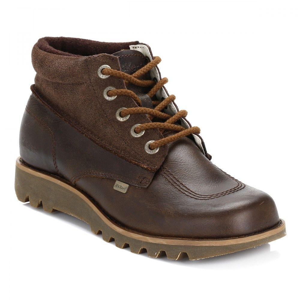 Kickers Mens Dark Brown Kick Hi Split Leather Boots