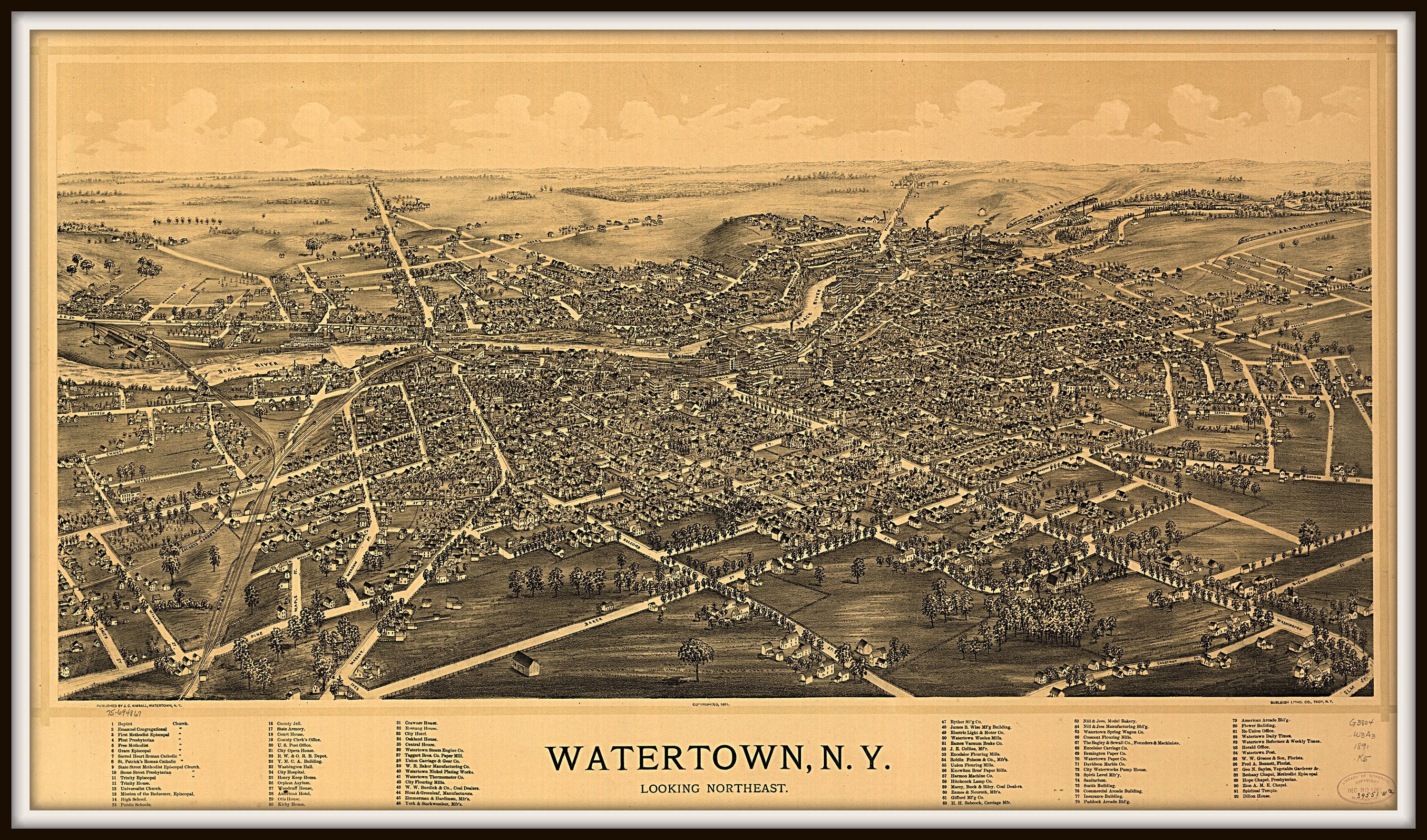 Watertown Ny Panoramic Map Vintage Map Vintage Map Art Vintage Map Decor Old Maps Vintage Map Prints Wall Hanging With Images Birds Eye View Map Vintage Maps Art Panoramic Map