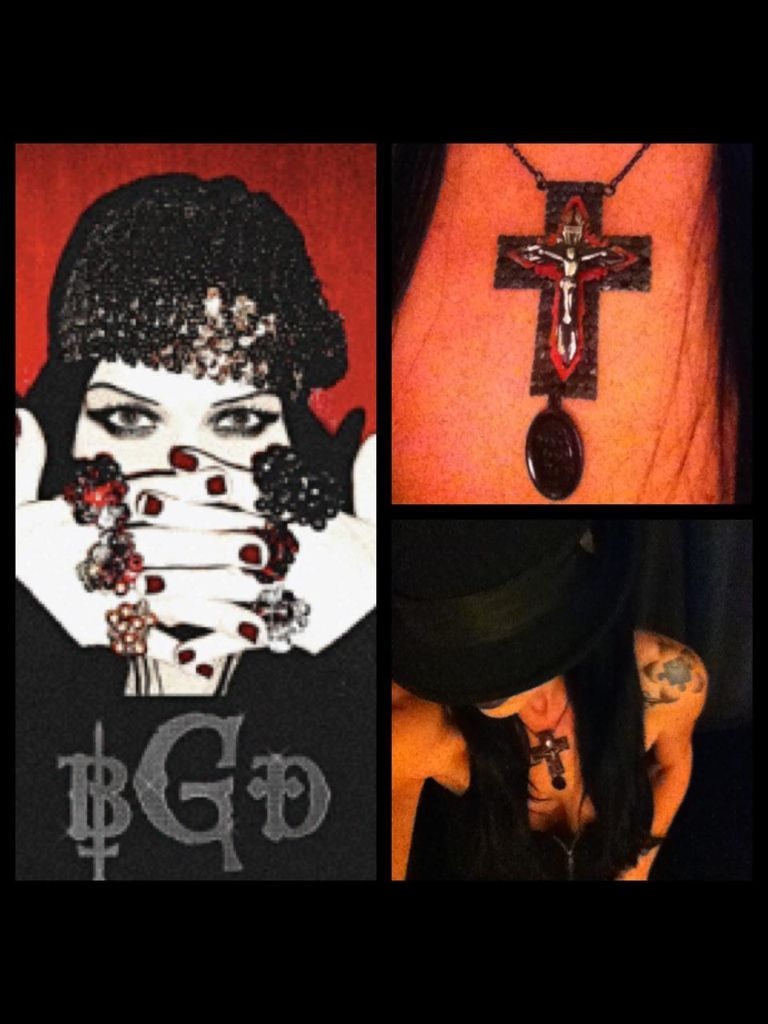 "Blasphemous Girl Design BGD www.bgd.bigcartel.com  I'm Rockin one of the many beautiful Cross  made by Tairrie B of ""MY RUIN"""