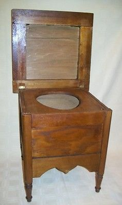 Antique Oak Wood Potty Commode Wooden Chamber Pot Planter Stool Toilet Chair