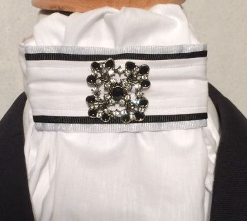 Euro style. Black and clear rhinestone silver tone base flower vintage pin included.