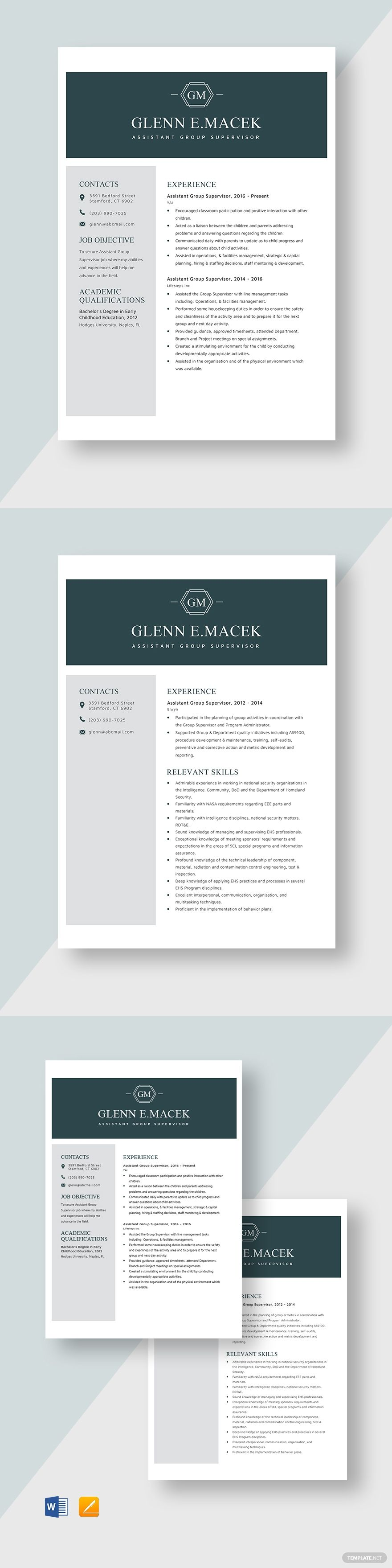 Assistant Group Supervisor Resume Template in 2020