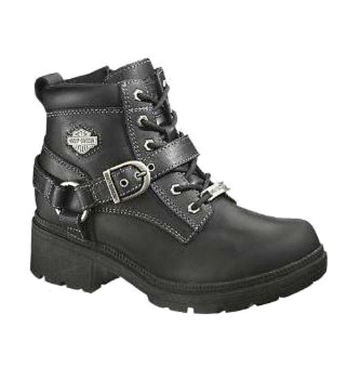 NEW Harley Davidson® Women's TEGAN Lace up Black Leather