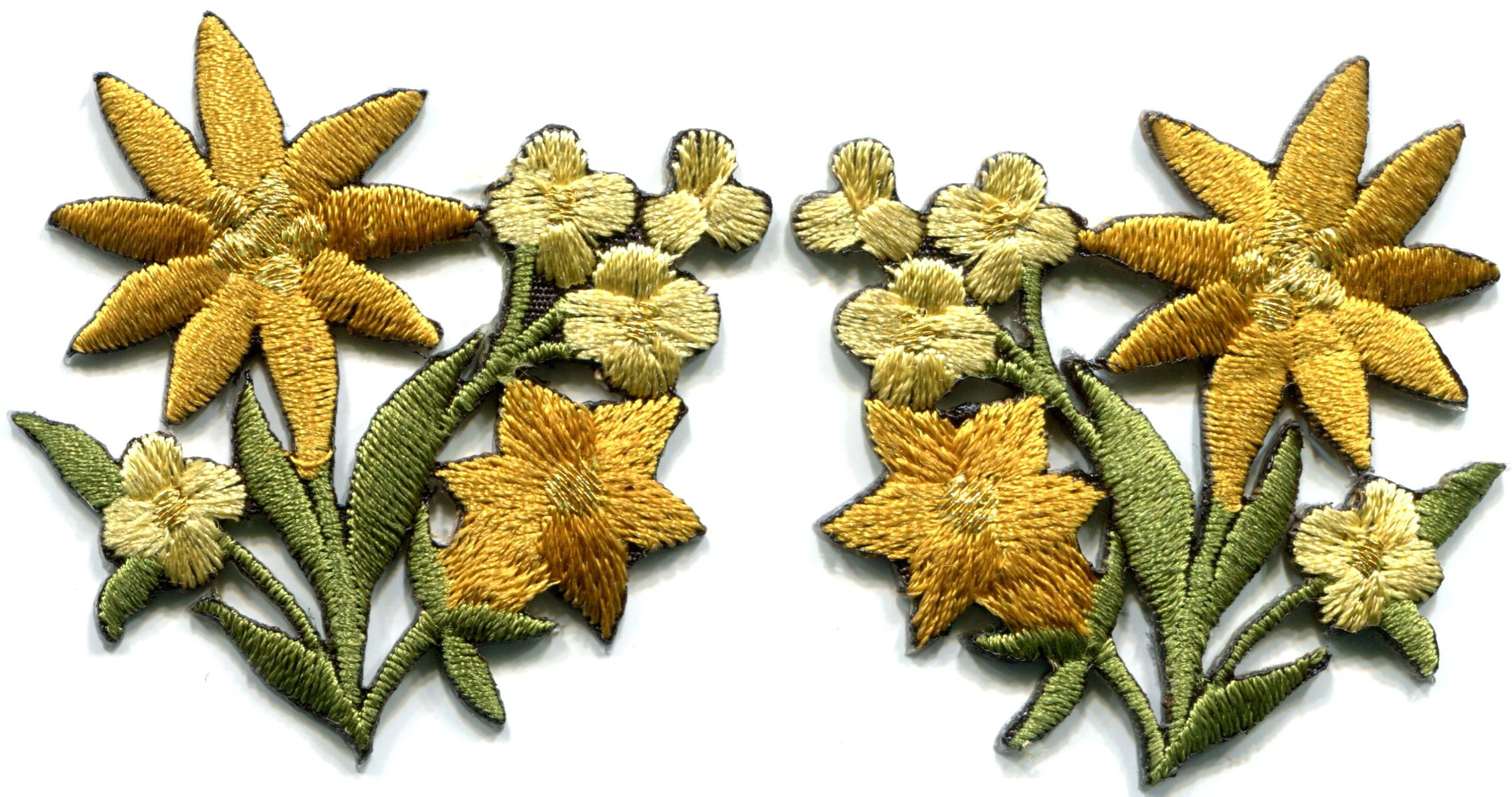 Silver Water Lily Gold Embroidered Iron-on Emblem Badge Patch Flower Applique