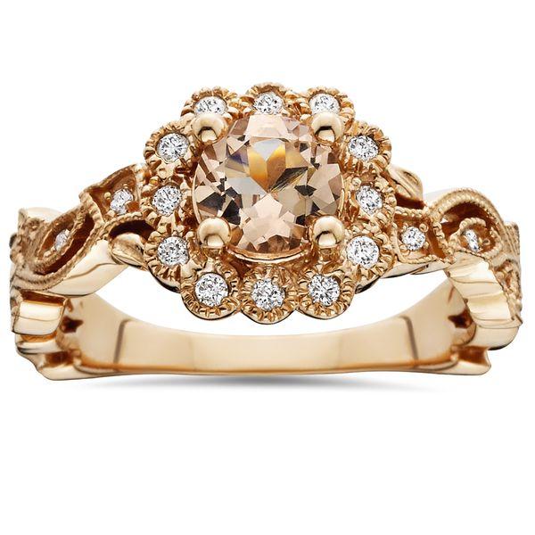 14k Rose Gold 1 1/4 ct TW Morganite & Diamond Cushion Halo Vintage Engagement Ring (I-J, I1-I2)