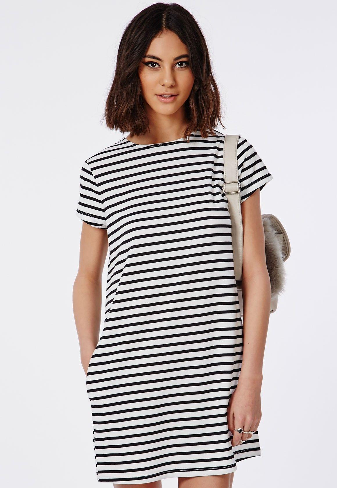 4f91dab2cbfd Missguided - Striped T-Shirt Dress Monochrome   Summer Tops ...