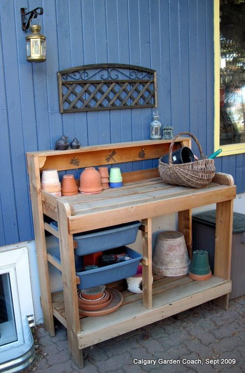 Potting Bench With Sliding Plastic Bins